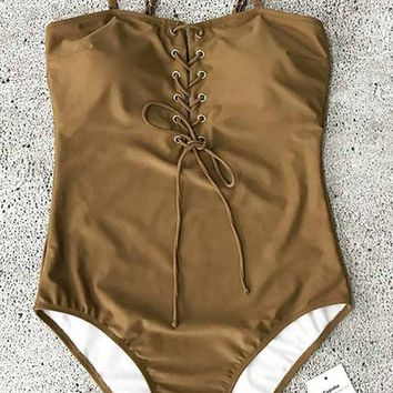 Cupshe Smell of Earth Lace Up One-piece Swimsuit