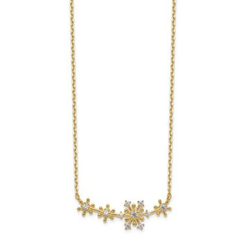 "14k Yellow Gold Snowflakes CZ Bar 18-20"" Necklace"