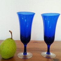 Champagne Flutes, Toasting Wedding Anniversary Party Glasses, Cobalt Blue Glass Drinking Glass Set, FREE US Shipping