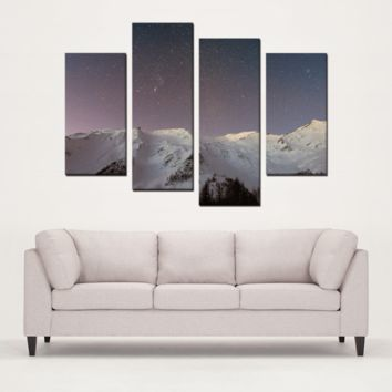Night Mountain Sky 4 Panels Canvas Prints Wall Art for Wall Decorations