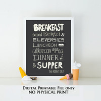 The Hobbit Diet Digital Printable, the hobbit movie, J.R.R. Tolkien, Lord of the Rings, elevensies, foodie, Kitchen Decor, Home Decor