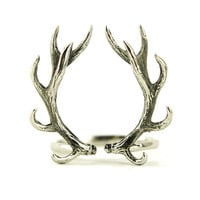 Deer Antler Ring Antique Silver Color Adjustable Ring Horns Wrap Ring Boho Jewelry - FRI001WBSS
