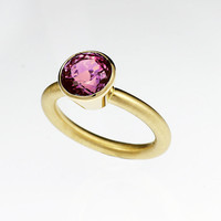 Pink tourmaline engagement ring, yellow gold, bezel ring, pink engagement, modern, solitaire, wedding, pink gemstone, custom, tourmaline