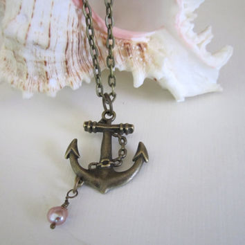 Anchor Necklace with Freshwater Pearl  Antique Brass by 636designs