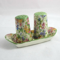 Vintage Chintz Salt & Pepper Shakers Made in Czechoslovakia , Floral S and P Shakers in Tray , Green Pink Yellow Salt Pepper
