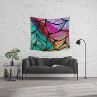 Ink Colored Leaves On Black Wall Tapestry by inspiredimages