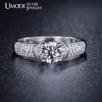 0.75 Carat Cubic Zirconia Engagement Ring Solitaire Ring Round Cut Diamond Ring Sterling Silver Ring Halo Engagement Ring Wedding Ring