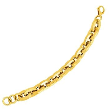14K Yellow Gold Large Flat Link Bracelet