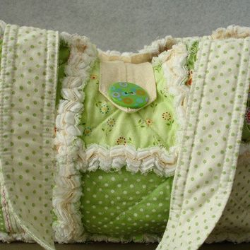 Custom Rag Quilt Purse Spring Green by Mary by AuntieBsQuiltsEtc