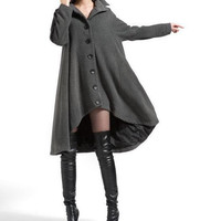 Gray single breasted cloak wool coat