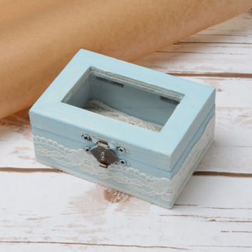 Glass Ring Bearer Aqua Wedding Ring Box Holder Shabby CHic