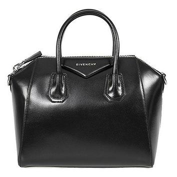 Givenchy Women's Antigona Sugar Goatskin Leather Satchel Bag, Matte Black