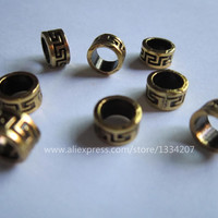 Free shipping 50Pcs/Lot Golden plated Style braid dread dreadlock bead clip cuff approx 6mm hole