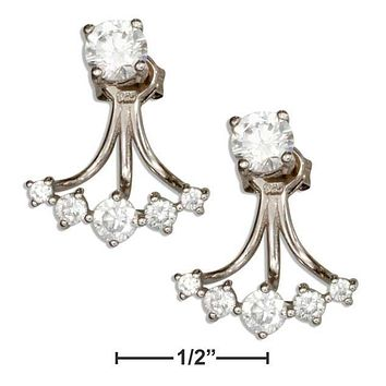 STERLING SILVER CURVED CUBIC ZIRCONIA FRONT BACK EARRINGS
