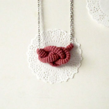 Bonds, crochet knot necklace, nautical necklace. Nautical knot bowline. Rose smoke cotton yarn