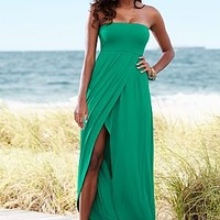 Green (EMER) Strapless Surplice Maxi