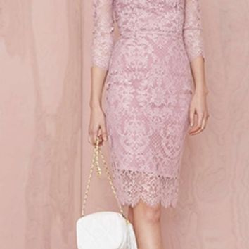 Light Purple Lavender Lace 3/4 Sleeve Scoop Neck Cut Out Button Back Bodycon Midi Dress