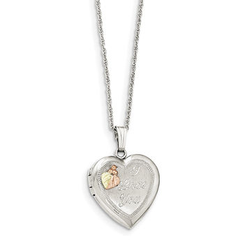 Sterling Silver & 10k Heart I LOVE YOU Locket Necklace QBH191