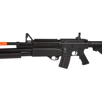Game Face GFRS M4 Tormentor FPS-300 Electric Airsoft Rifle with Underbarrel FPS-295 Spring Shotgun