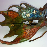Green Man Wood Nymph Leather Mask