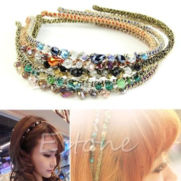 Women Retro Rhinestone Crystal Headband Barrette Hair Accessories Hairpin Clip