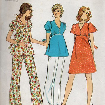 Retro 70s Simplicity Sewing Pattern Maternity Blouse Dress Tunic Pullover Shirt Wide Leg Pants Uncut Bust 36
