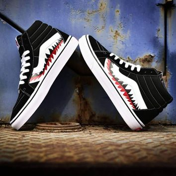 spbest Vans X Bape Sharktooth Custom High Cut Black-1