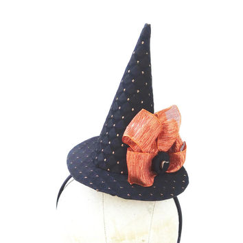 Mini Witch Hat, Halloween Costume Accessory, Black and Orange, Black Heart, Head Piece, Sexy Witch