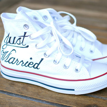 Hand Painted Just Married Converse - Optical White Canvas Hi Top Chucks