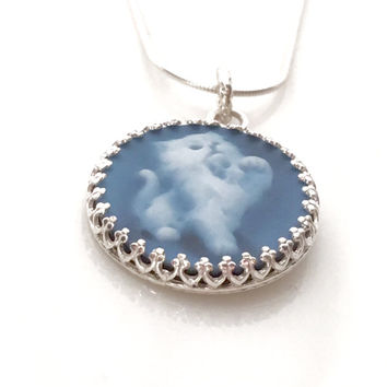 Cameo Necklace, Cat Necklace, Handmade Cat Jewelry, Kitty Necklace, Kitten, Gemstone Blue Cameo Jewelry, Mothers Day Gift for Cat Lover Wife
