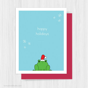 Funny Christmas Card Holiday Cards Fun Cute Pun Humor Humorous Handmade Greeting Cards Santa Frog Happy Hoppy Holidays Gifts For Friend Him