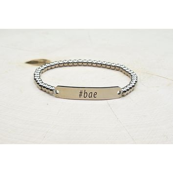 Solid Stainless Steel Beaded Hashtag Bracelet by Pink Box