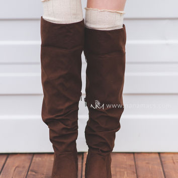 Knee High Fold Over Lace Suede Boots (Brown)