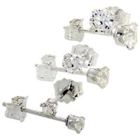 3 Pair Set Sterling Silver Cubic Zirconia Earrings Studs Cartilage 2, 3 and 4mm