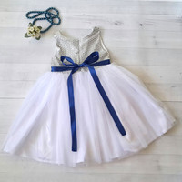 Silver and White flower girl's dress with royal blue satin bow. Toddler girl dress, formal dress, silver dress
