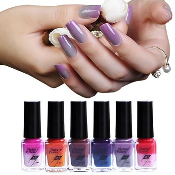 Nail Polish Vernis 6ml  Temperature Change Nail Polish UV Glue Hybrid Varnish Soak Off Long Lasting Thermo Gel Varnish#121