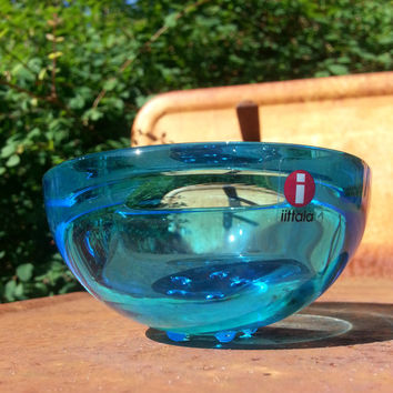 Iittala Finland Ballo blue glass candle holder votive/bowl.. designed by Annaleena Hakatie..