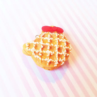 Super Adorable Kawaii Hello Kitty Waffle with Coconut Topping Waffle Collection Polymer Clay Cellphone Charm