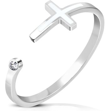 Stainless Steel Clear CZ 2-Tone Classic Cross Open Ring