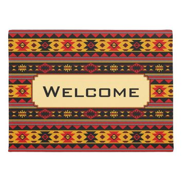 Southwest Design Red Black Gold Monogram Doormat