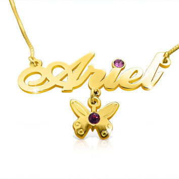 Birthday Gift Gold Name Necklace 14k Necklace With Name and Butterfly Charm Birthstone Necklace Special Gift For Birthday Gold Taylor Swift