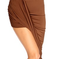 Brown Asymmetrical Hem Cute Summer Skirt