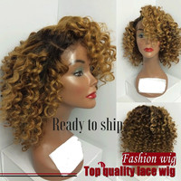 Synthetic hair full Lace Front wigs ombre culry wig