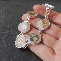 Steampunk Bracelet, Old Upcycled Watch Parts Bracelet, Resin Jewelry Jewellery,Steampunk Jewelry, Upcycled Recycled Jewelry (676)