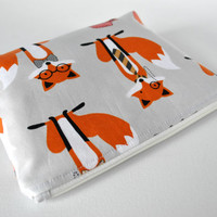 Woman's padded travel make up pouch dapper fox foxy animal print in grey,orange and white in large.