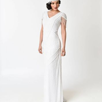 Frock and Frill White Sequin Beaded Birdelle Bridal Maxi Dress