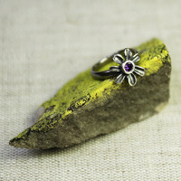 Flower ring purple zircon - fine silver ring size 6 ring - organic ring size 6 - arttistic ring - ring for girl - delicate ring