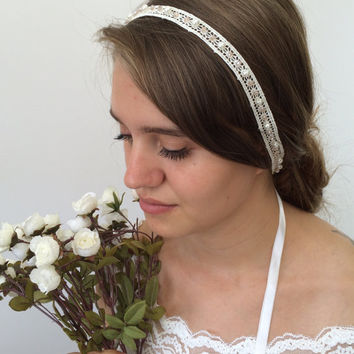 Bridal Hair Wrap, Wedding Lace Headband, Pearls and Crystals Embroidered Hair Jewelry, Bridal Headpiece, Wedding Hairband, Women's Gift