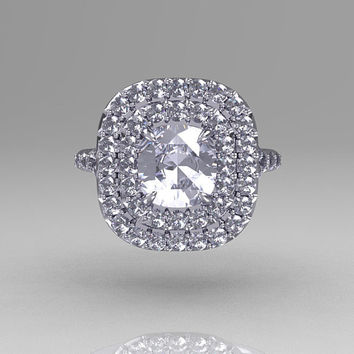 Tiffany Soleste Style 950 Platinum 1.25 Carat Cushion CZ Bead-Set Diamond Engagement Ring R116-PLATDCZ