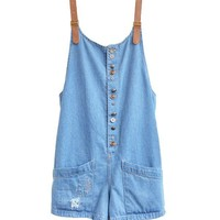 Oversized Denim Bib Overalls with Large Patch Pockets